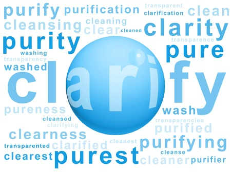 clarifying: Cyan blue bubble background with clarifying and cleaning words Stock Photo