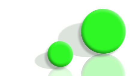 Small and big bounce green balls with reflection and shadow on white Stock Photo