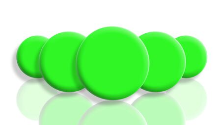 Five brilliant green balls in perspective isolated and reflected on white photo
