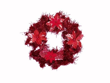 corona navidad: Roja corona de Navidad aislado en blanco