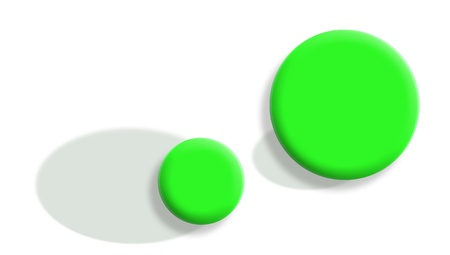 Exchange of importance concept with sportive green balls and its shadows Stock Photo