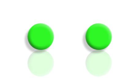 sportive: Two bright green sportive balls isolated and reflected on white Stock Photo