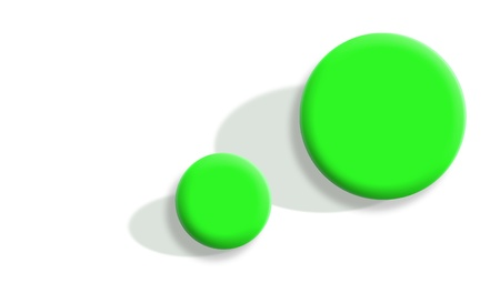 Small and big sports balls in green on white Stock Photo