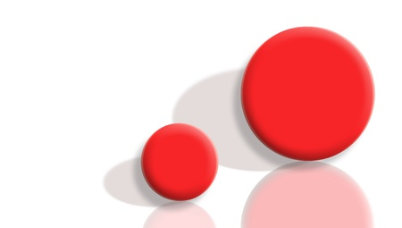 contradictory: Small and big bounce red balls with reflection and shadow on white