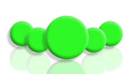 Five reflected green balls isolated on white