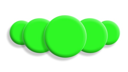 Five bright green balls perspective isolated on white