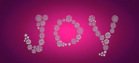 loveable: White joy word background in crochet on purple