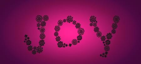 loveable: Joy word of crochet in black on purple