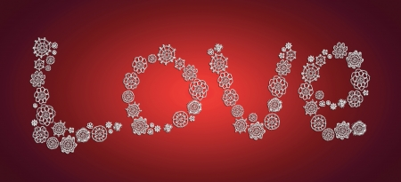 digitals: Knitted love word over red background for xmas Stock Photo