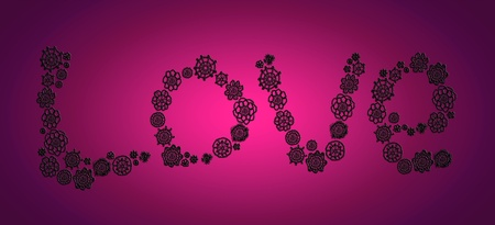 Love word in black crochet flowers over pink purple photo