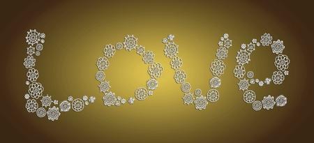 digitals: Love word background in crochet over gold