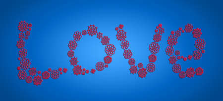 Red love word of crochet over blue background