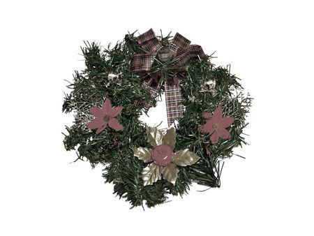 sobrio: Sober elegante anillo de adorno de Navidad con la cinta y las flores en una rama circular aislado en blanco