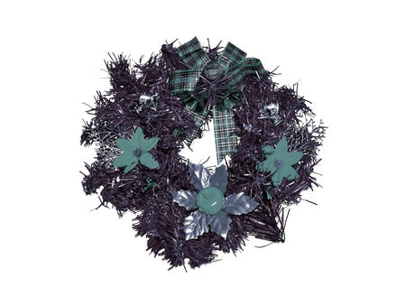 sobrio: Adorno anillo de la Navidad con las flores en tonos verdes sobrios aislados en blanco