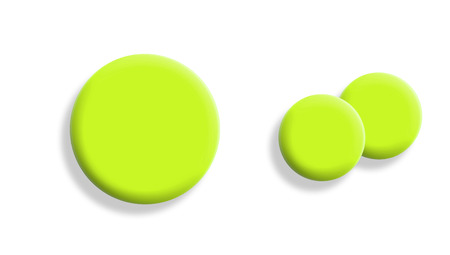 greenish: Yellow sportive balls isolated on white, two small with one big Stock Photo