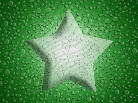 melting point: Green christmas star background with melted snowflakes water drops Stock Photo