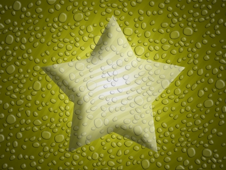 melting point: Gold christmas star background with melted snowflakes water drops