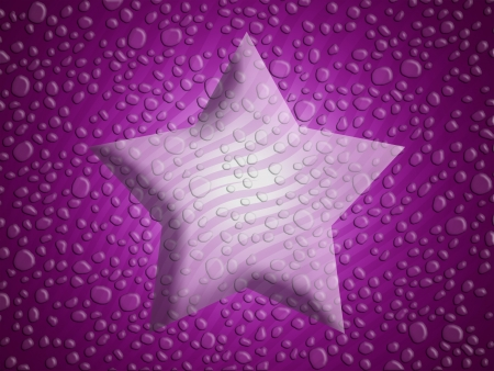 liquid x: Purple christmas star background with melted snowflakes water drops