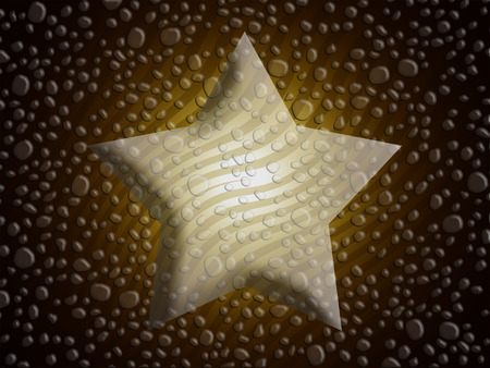 melting point: Dark christmas star background with melted snowflakes water drops