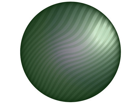 metalized: Sober elegant green circular button of striped metal isolated on white background