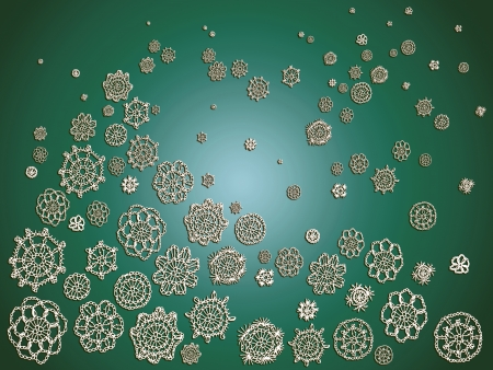 similitude: Green christmas background with snowflakes forming a tree of crochet flowers Stock Photo
