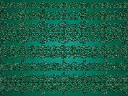 sofisticated: Green elegant christmas background of crochet garlands