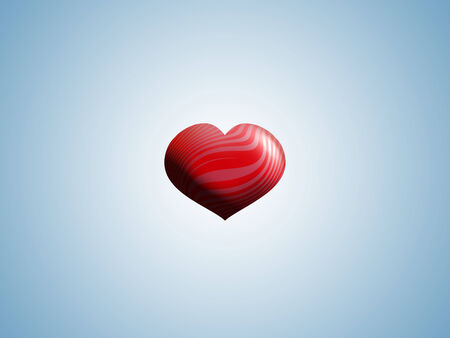 Red and pink 3D heart in light blue sky with copyspace photo