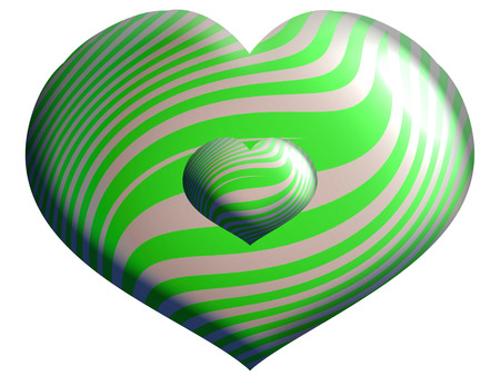 Heart shaped striped green and silver balloons isolated on white