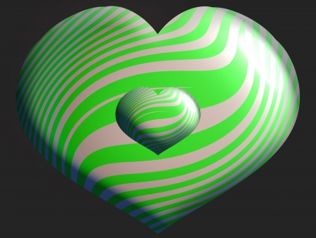 Hearts of balloons of two sizes in green and silver stripes