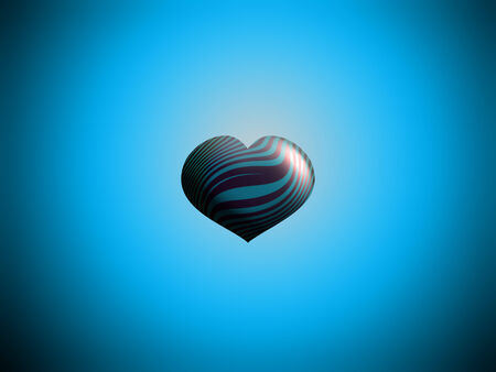centered: Heart balloon centered in blue sky background with copyspace Stock Photo