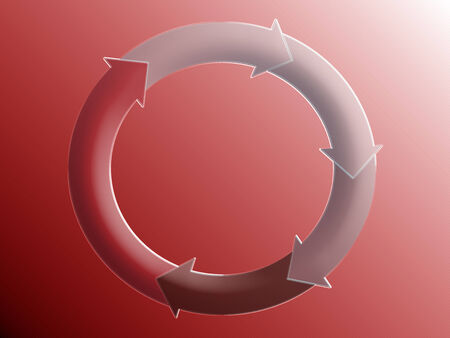representations: Arrows in circle in red background Stock Photo