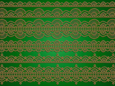 picots: Green christmas background with vintage sofisticated crochet laces