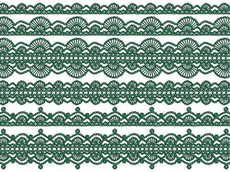 picot: Verdi maglia ghirlande di Natale isolato su sfondo bianco Archivio Fotografico