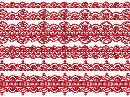 sophistication: Red knitted christmas garlands isolated on white background