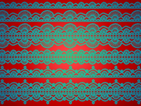 picots: Elegant christmas background with crochet laces in green over red