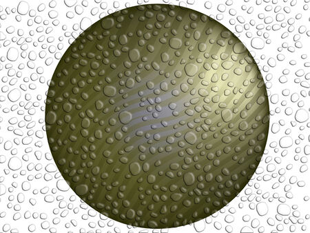 Circle of metal brilliant striped and wet of melting snowflakes photo
