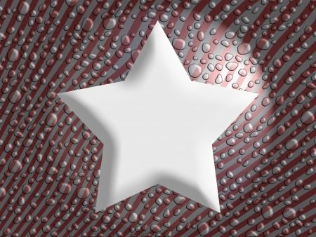 salivating: White star on melted snowflakes drops christmas background with abstract thin stripes in red and silver Stock Photo