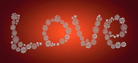 picot: Amore parola di bianchi fiocchi di neve di Natale del crochet sul rosso