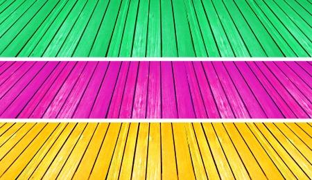 scenarios: Green magenta and yellow wood backgrounds of floors like scenarios of theatres