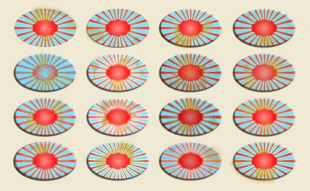 oxydation: Oval old badges set in red blue and beige Stock Photo