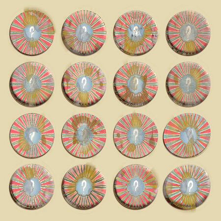 Old circular badges set with question mark in red blue and white Banque d'images