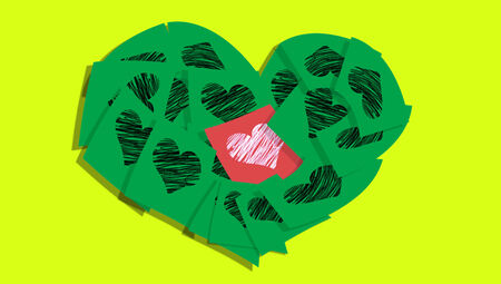 communicated: Heart christmas postcard of paper notes in red and green on yellow