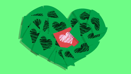 february 1: Heart christmas postcard of love notes on green background