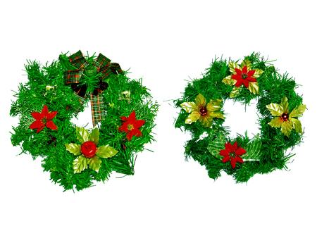 coronas navidenas: Guirnaldas de Navidad pares aislado en blanco Foto de archivo