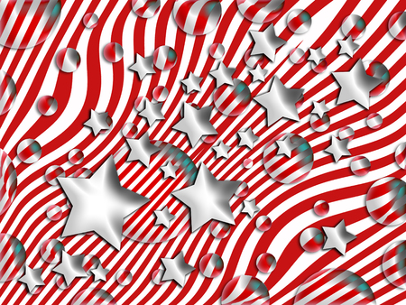 Stars and bubbles floating on red and white striped abstract christmas background photo