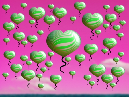 multiplying: Green heart balloons floating on pink sunset sky over a green field