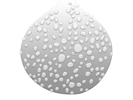 transpiration: Silver huge drop wet with lots of little waterdrops isolated on white Stock Photo