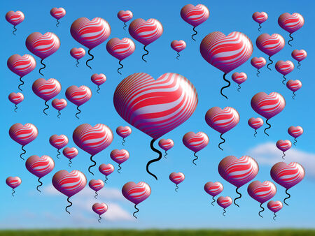 multiplying: Red hearts birthday balloons on blue sky over green field