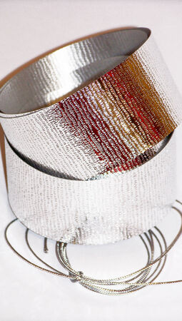 metalized: Ribbon and thread silver gifts ornament for Christmas
