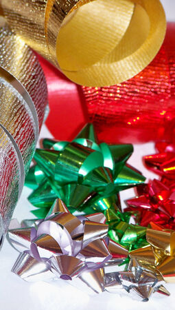 metalized: Christmas flowers and ribbons in red green silver and gold